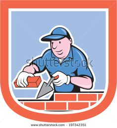 illustration of a bricklayer mason plasterer worker holding trowel and brick on isolated background set inside shield crest done in cartoon style. - stock vector #plasterer #cartoon #illustration