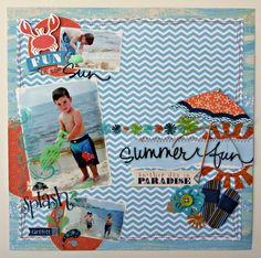 Layout: Summer Fun - I like how the chevron background looks like waves Beach Scrapbook Layouts, Disney Scrapbook, Travel Scrapbook, Scrapbooking Layouts, Scrapbook Pages, Little Yellow Bicycle, Photo Layouts, Album, Summer Fun