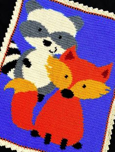 Crochet Patterns - RACCOON and FOX Baby Afghan Pattern (WOODLAND/FOREST) *EASY* | eBay