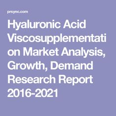 Hyaluronic Acid Viscosupplementation Market Analysis, Growth, Demand Research Report 2016-2021