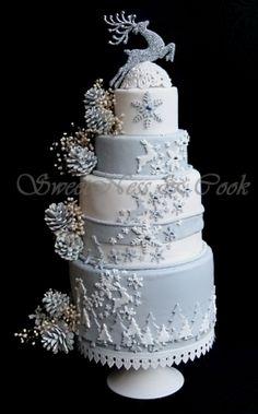 Indian Weddings Inspirations. Silver Wedding Cake. Repinned by #indianweddingsmag indianweddingsmag.com #weddingcake #winter