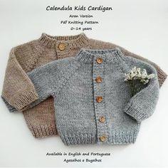 Ravelry: Calendula Kids Cardigan pattern by Sandra Magalhães Easy Baby Knitting Patterns, Baby Cardigan Knitting Pattern Free, Knitting For Kids, Knitted Romper, Knitted Coat, Knitted Baby, Crochet Baby, Ravelry, Etsy