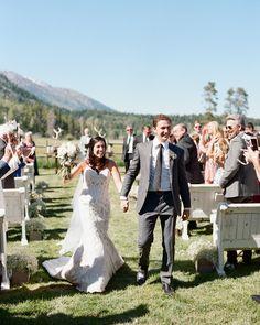 A rustic mountain Jackson Hole wedding as featured by Martha Stewart Weddings. Jackson Hole Wyoming, Countryside Wedding, Martha Stewart Weddings, Mountain, Rustic, Wedding Dresses, Lace, Fashion, Jackson Hole