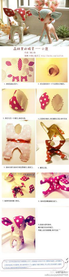 How to sew a little cute reindeer.