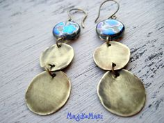 "Earrings ""Brass"" - brass, glass"