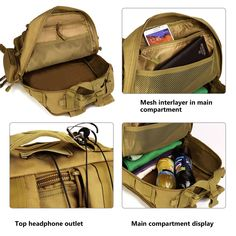12d6fbb039a ArcEnCiel Military Tactical Backpack Outdoor Rucksack Bag Shoulder  Expandable Hunting Daypack for Camping Trekking Travel Hunting with Patch  Rain Cover ...