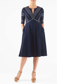 I <3 this Graphic embellished empire cotton knit dress from eShakti