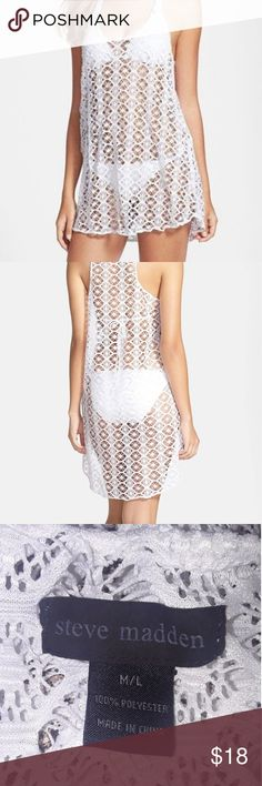 STEVE MADDEN Cover Up Razorback lace crochet can be worn as a cover up or as a see through top. Steve Madden Swim Coverups
