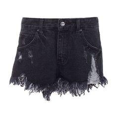 Ripped Denim Cutoffs With Fringe Hem ($30) ❤ liked on Polyvore featuring shorts, black, ripped shorts, denim shorts, loose shorts, zipper pocket shorts and destroyed denim shorts