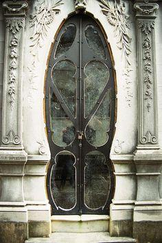 Art Nouveau tomb door. Recoleta Cemetery. Buenos Aires, Argentina