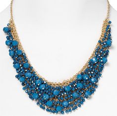 Go for statement-making style with this chunky blue necklace