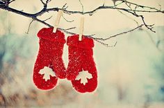 my grandmother knitted my firstborn a pair of red mittens w/green tassles for Christmas long ago-42 yrs later-they now hang on his family's Christmas tree