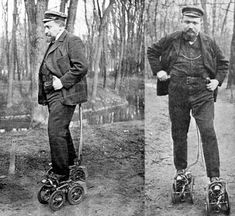 A 1906 issue of Scientific American examines motorized roller skates exhibited at that year's Paris Automobile Show. There were several models in development by different inventors at the time, including these by French inventor M. Constantini. They're basically tiny cars that he wore on his feet:In view of the fact that each skate contains a gasoline motor, carbureter, battery, and spark coil, it will be seen that the whole has been reduced to a comparatively small size. The use ...
