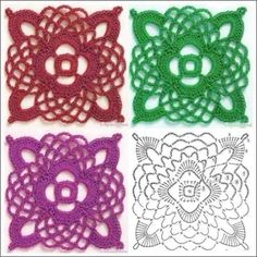 Crochet Symbols, Vintage Crochet Patterns, Crochet Square Patterns, Crochet Squares, Crochet Designs, Knitting Patterns, Crochet Cap, Crochet Diagram, Thread Crochet
