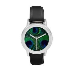 Nice flower girl gift.  Personalizable, child size, peacock feather watch (children or adults with small wrists) in rich, saturated shades of green, teal, navy, and medium blue. A special gift that can be ordered as-is (no text or personalization) or customized (simply add a monogram, name, date, or special message text when ordering). Other matching items available in this same pattern / color scheme and other colors. Cute flower girl and ring bearer gift for peacock feather themed wedding.