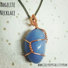 Angelite Wire Wrapped  Crystal Necklace. Lovingly wrapped in Copper Wire   Angelite is an effective calming crystal and can help you relieve tension and stress, it can guide you through emotionally difficult times.   #angelite #angelitecrystal