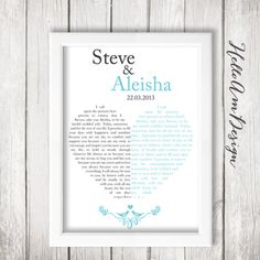 Check out this diy idea on how to frame your wedding vows wedding our wedding vows 1st paper anniversary custom vows wedding gift for her or solutioingenieria Images
