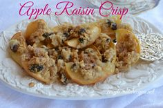 Apple Raisin Crisp Recipe Desserts with apples, water, quick-cooking oats, all-purpose flour, brown sugar, baking soda, baking powder, butter, cinnamon sugar, raisins