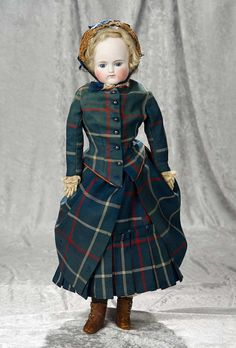"""23"""" German bisque closed mouth fashion doll by Kestner with nice antique costume 300/600"""