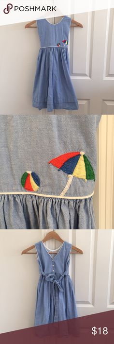 Strasburg  Beach dress girls size 5 Adorable Strasburg girls dress size 5. Embroidered beach umbrella and beach ball at waist. Button back with tie. Great for beach portraits or summer days. Strasburg Dresses
