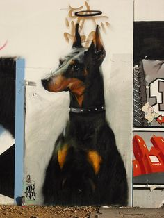 street art by M-E-S-A. dog with halo. 000