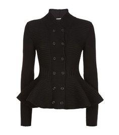 Alexander McQueen Chunky Knit Peplum Jacket