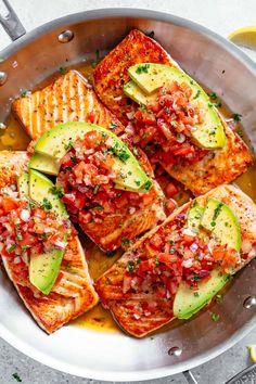 Seared Salmon with Avocado Tomato Salsa - Cafe Delites Salmon Recipes, Fish Recipes, Seafood Recipes, Keto Recipes, Cooking Recipes, Healthy Recipes, Dinner Recipes, Avocado Recipes, Lunch Recipes