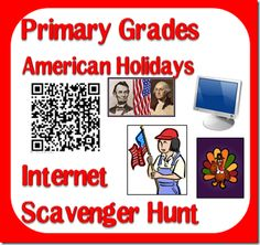 Patriotic Internet Scavenger Hunts - Complete a patriotic internet scavenger hunt to celebrate American holidays like the of July, Memorial Day, Veteran's Day or Presidents' Day - Multiple versions available from Raki's Rad Resources. Kindergarten Social Studies, Social Studies Activities, Teaching Social Studies, Student Learning, Teacher Freebies, Classroom Freebies, Classroom Ideas, Classroom Activities, Instructional Technology