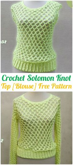 Crochet Solomon Knot Blouse Top Free Pattern - #Crochet Women Pullover Sweater Top Free Patterns