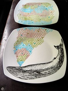 Blue  Whale Geometric Design Plates hand illustrated porcelain Set of two. €60,00, via Etsy.