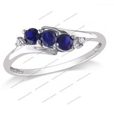 White Platinum Plated 925 Silver 2/5CT Sapphire & CZ Three Stone Ring Size 5-12 #br925silverczjewelry #ThreeStoneRing