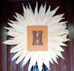 Corn Husk Monogram Wreath–{Avery & Winslow} | The CSI Project