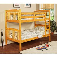 "Elise Bunk Bed with set of 2 Mainstays 6"" Coil Mattresses, Pine  From Walmart"