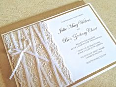 Burlap and Lace Wedding Invitation and rsvp card by ChampagnePress, $5.95
