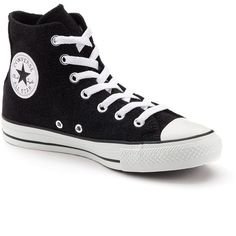 Adult Converse All Star Sparkle High-Top Sneakers ($60) ❤ liked on Polyvore featuring shoes, sneakers, converse, black, converse high tops, black high top shoes, converse shoes, black hi tops and black high tops