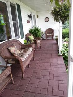 Create a beautiful look to your patios, decks and child play areas by using this Envirotile Cobblestone Terra Cotta Rubber Paver. Small Front Porches Designs, Patio Design, Patio Flooring, House Landscape, Porch Landscaping, Patio Tiles, Rubber Patio Tiles, Porch Makeover, Porch Design