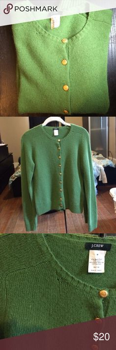 J. Crew green wool cardigan🐢 J. Crew wool cardigan Size M. Perfect condition except for minor pulling please see pic above( not noticeable at all) J. Crew Sweaters Cardigans