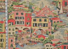 Venice Italy Venice fabric travel fabric pink toile fabric Mediterranean fabric cottage decor home decorating FREE SHIPPING 1 yard  Colors are pink, raspberry, gold, deep grass, yellow green, white, cream, black, pinky brown, tan, and muted grey blue green. Copen blue, the greyed blue green, and cream water sparkles in the canals and becomes the sky behind the buildings. And in the background, behind all, are distant buildings done in tan, cream, and the muted grey blue green.  This fabric…