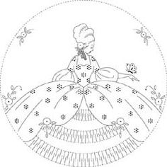Pattern Detail | Colonial Lady with Butterfly | Needlecrafter