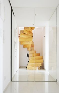 waaaat?   Spiral staircase made from chunky wooden blocks by QC   Design