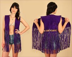ViNtAgE 60's 70's Purple Fringe Vest Woodstock Era Suede Grommet Cutout // Rocker HiPPiE BoHo Gypsy Festival Mini Dress M/L