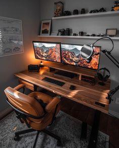 Home Studio Setup, Home Office Setup, Home Office Space, Home Office Design, House Design, Office Workspace, Studio Design, Office Ideas, Computer Desk Setup