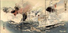 """Sino-Japanese War: The Japanese Navy Victorious Off Takushan"" by Ogata Gekkō, October 1894."