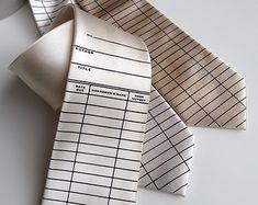 Library date due necktie. Due date card tie. Silkscreened men's tie. Perfect teacher, librarian, writer, bookworm, reading gift.