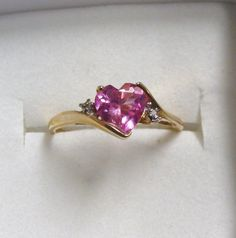 VALENTINE DIAMOND and PINK Topaz Ring sz 9 by BETTYSJEWELRYDESIGNS, $98.00