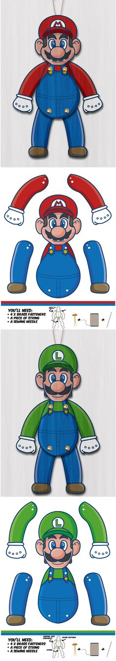 Create your own awesome Super Mario Bros. Paper puppets.
