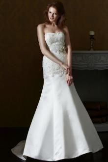 Fully Beading Embellished Timeless Strapless Satin A-line #Bridal #Gown