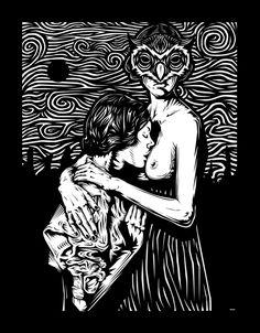 Pilpeled's online shop, which is offering a wide range of designs and art. Art And Illustration, Linocut Prints, Art Prints, Art Nouveau Poster, Satanic Art, Mystique, Arte Horror, Wood Engraving, Gravure