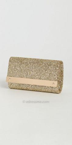 Metal Bar Glitter Full Flap Handbag by Camille La Vie. #edressme