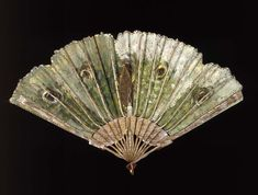 1890, America - Luna moth fan painted by George Keiswetter for Allen Fan Company - Carved and painted wood sticks and silk plain-weave leaf painted in oil with applied metal sequins, thread, and net